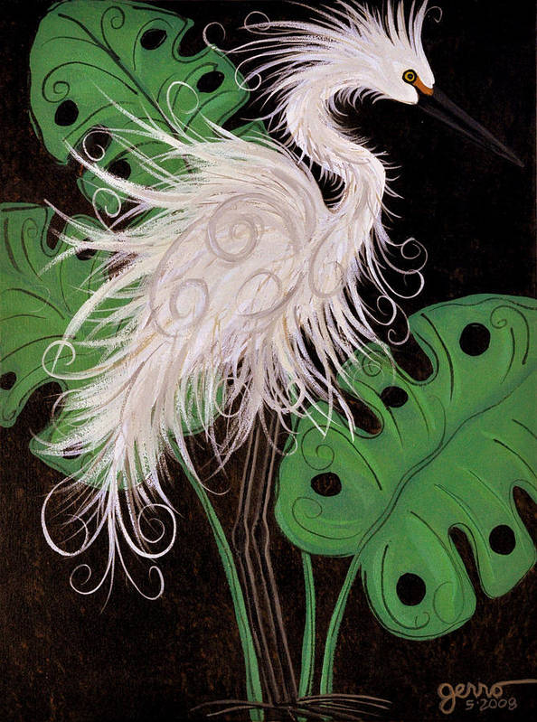 Snowy Egret Artwork Art Print featuring the painting Snowy Egret Deco by Helen Gerro