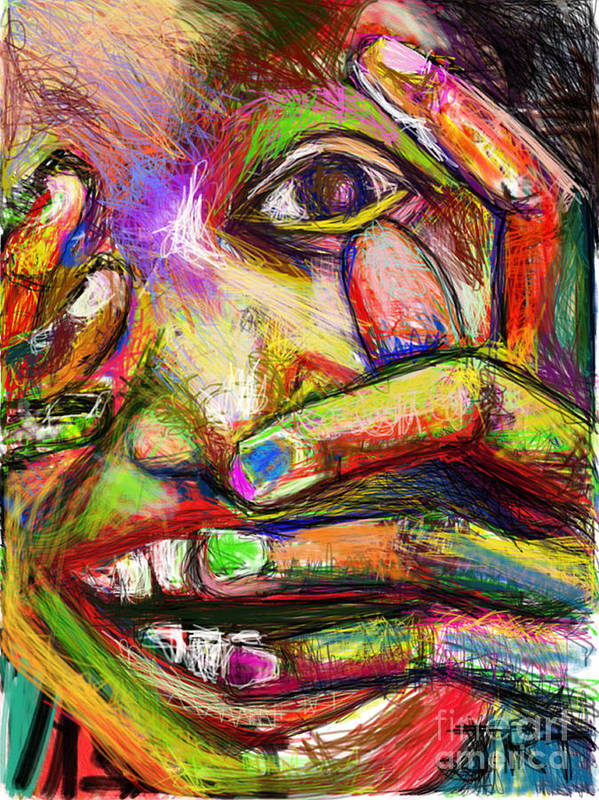 Fingers Art Print featuring the painting So Happy and Fingers by James Thomas
