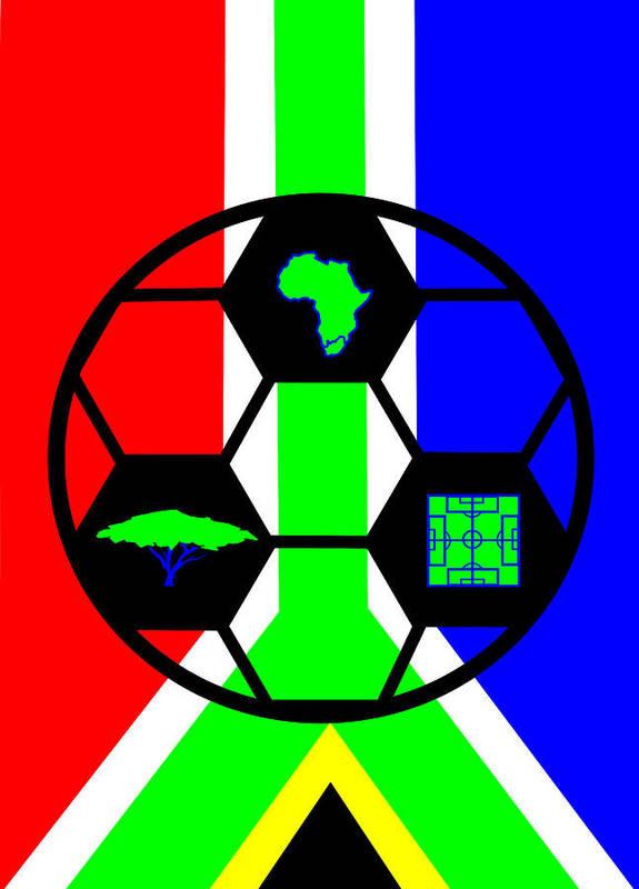 South African Flag Art Print featuring the digital art South African Joy IV by Asbjorn Lonvig