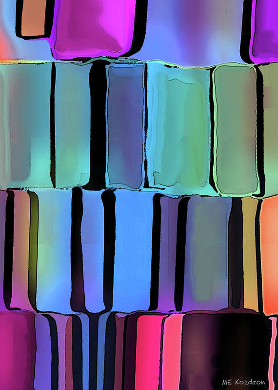 Modern Art Print featuring the digital art Stacked by ME Kozdron