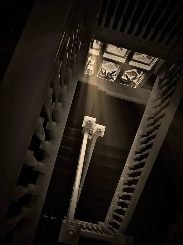 Old Art Print featuring the photograph Stairway Light, Redstone Castle, Colorado by Zayne Diamond Photographic