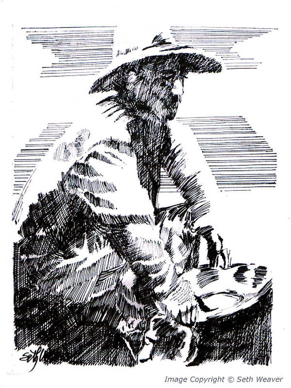 1850's Old West Art Print featuring the drawing Striking It Rich by Seth Weaver