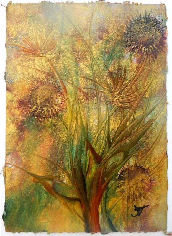 Encaustic On Tissue Art Print featuring the painting Sun Drenched by John Vandebrooke