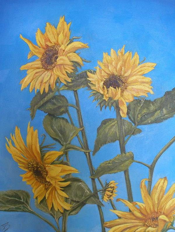 Sunflower Art Print featuring the painting Sunflower by Travis Day