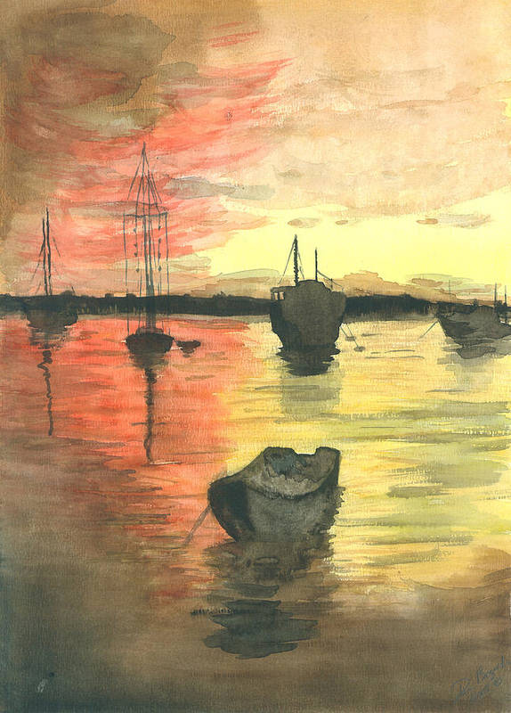 Sunset Cloudy Sky Art Print featuring the painting Sunset Lagoon by Dan Bozich