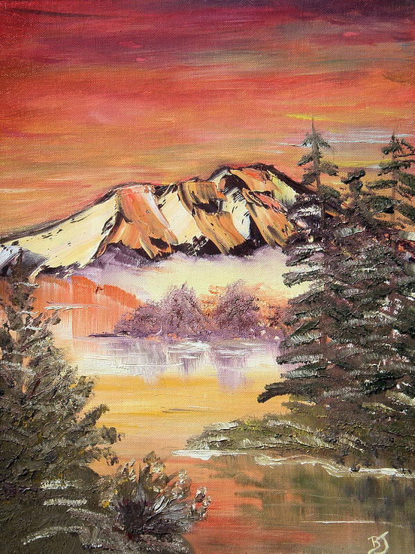 Landscape Art Print featuring the painting Sunset on the Lake by Beverly Johnson
