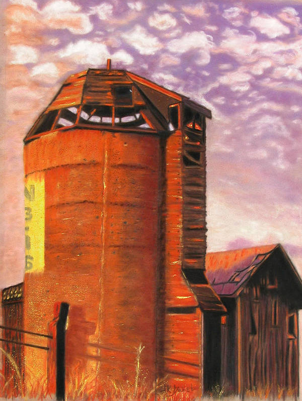 Americana Art Print featuring the pastel Sunset Silo by Laura Gabel