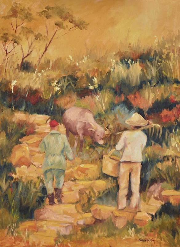 Water Buffalo Art Print featuring the painting Taipei Buffalo Herder by Ginger Concepcion