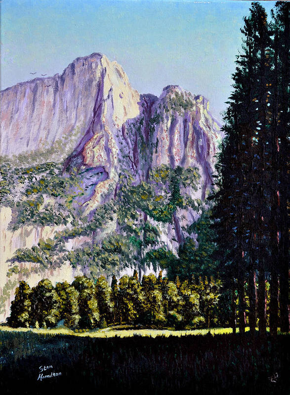 Mountain Art Print featuring the painting Tetons by Stan Hamilton
