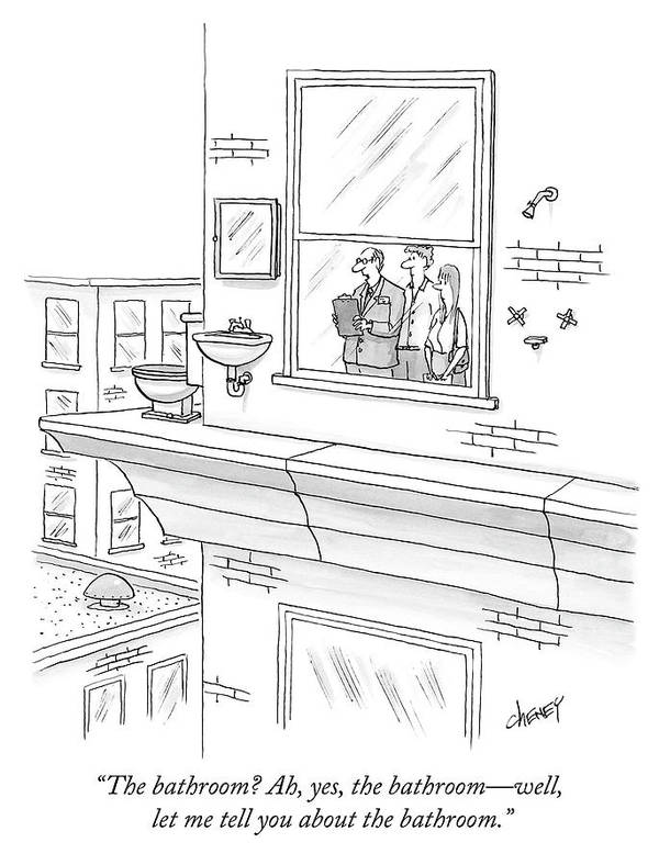 """""""the Bathroom? Ah Art Print featuring the drawing The bathroom by Tom Cheney"""
