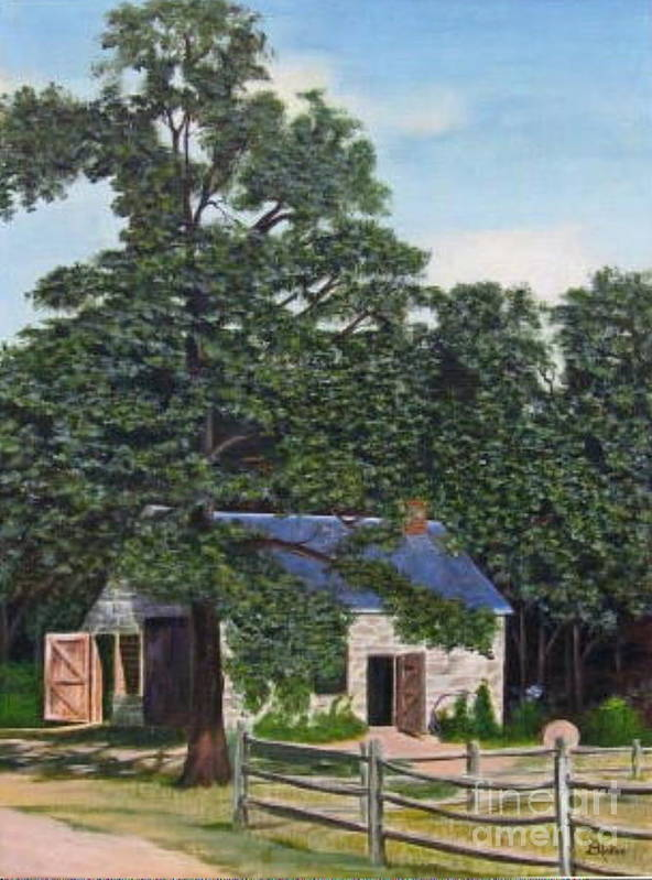 Landscape Art Print featuring the painting The Blacksmith Shop by Donald Hofer