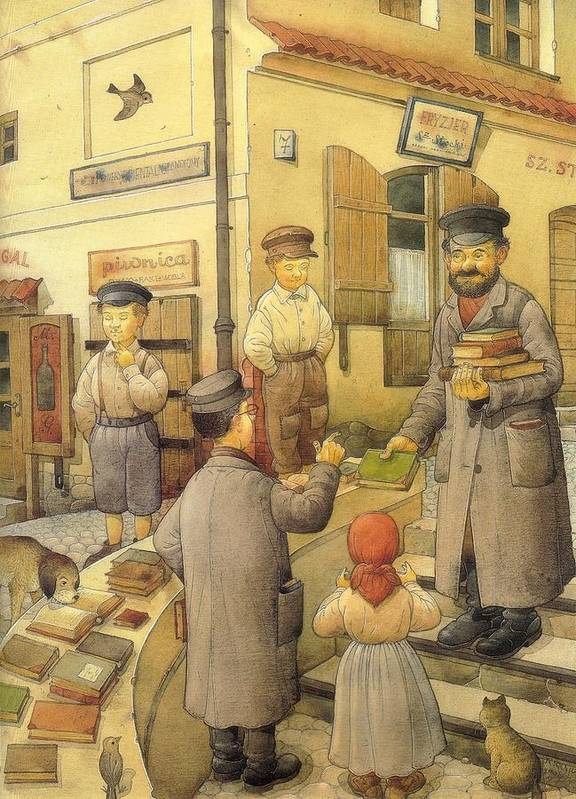 Books Old Town Children Art Print featuring the painting The Bookman by Kestutis Kasparavicius