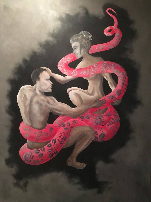 Snake Art Print featuring the painting The Dream by Ron Tango Jr