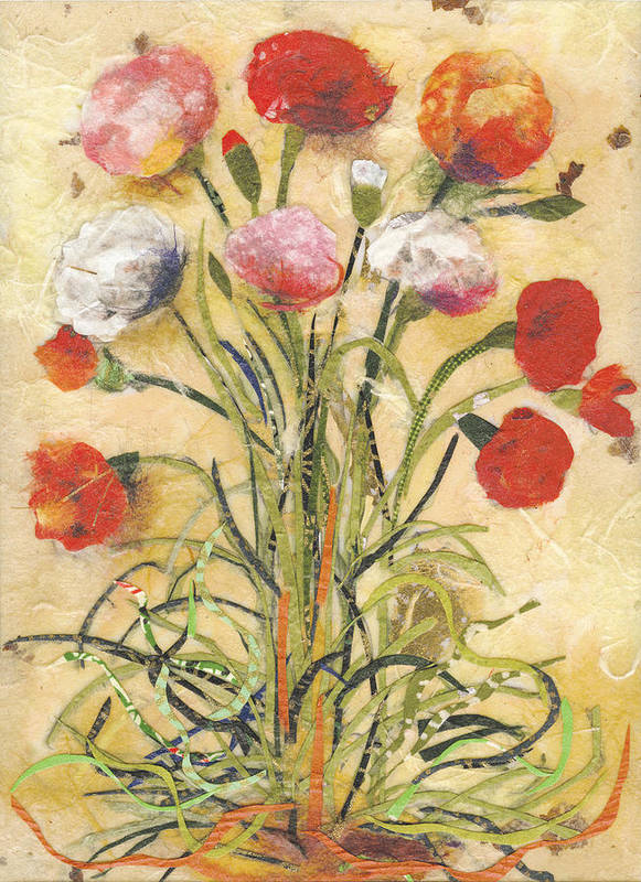 Flowers Art Print featuring the mixed media The floral dance by Nira Schwartz