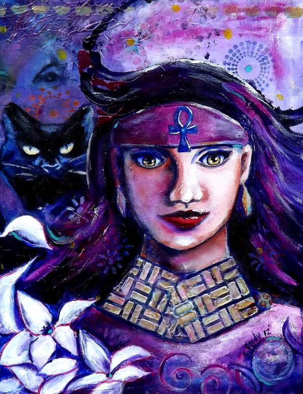 Bast Art Print featuring the painting The Goddess Bast by Goddess Rockstar