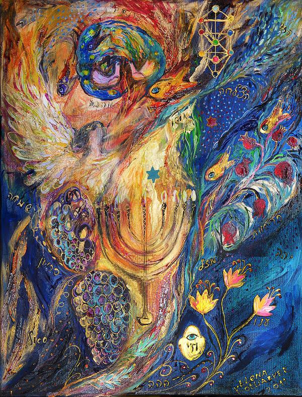 Original Art Print featuring the painting The Keeper Of Menorah by Elena Kotliarker
