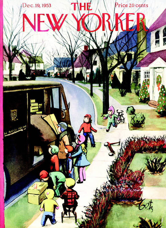 Holiday Art Print featuring the painting New Yorker December 19th, 1953 by Arthur Getz
