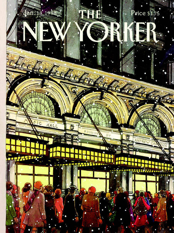Urban Art Print featuring the painting The New Yorker Cover - January 18th, 1988 by Roxie Munro