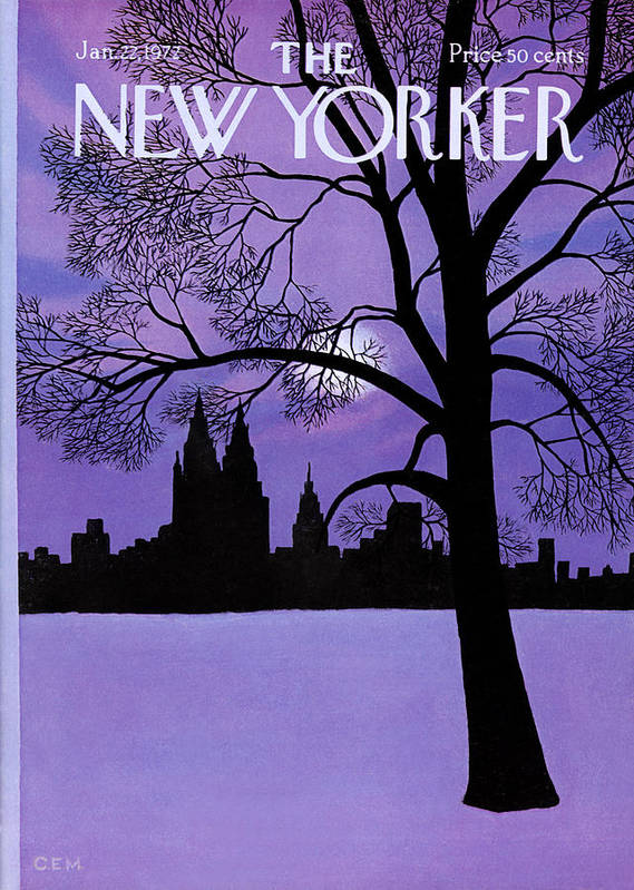 Color Art Print featuring the painting The New Yorker Cover - January 22nd, 1972 by Charles E Martin