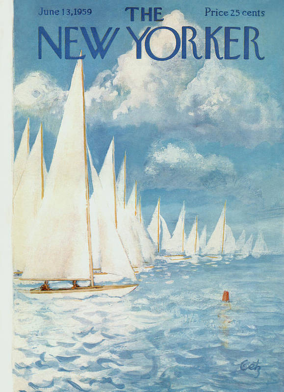 Arthur Art Print featuring the painting New Yorker Cover - June 13th, 1959 by Arthur Getz