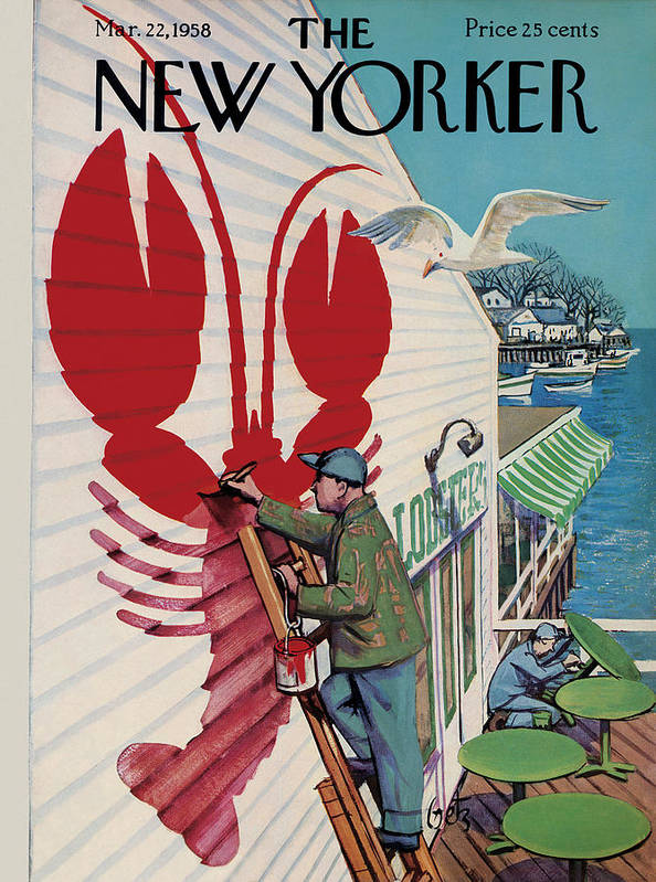 Food Art Print featuring the painting New Yorker March 22, 1958 by Arthur Getz