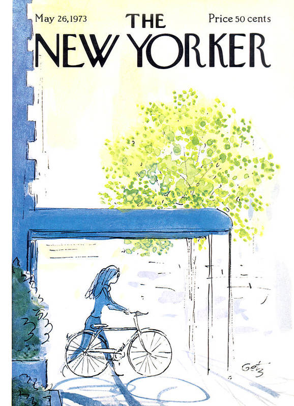 Bicycle Art Print featuring the painting The New Yorker Cover - May 26th, 1973 by Arthur Getz