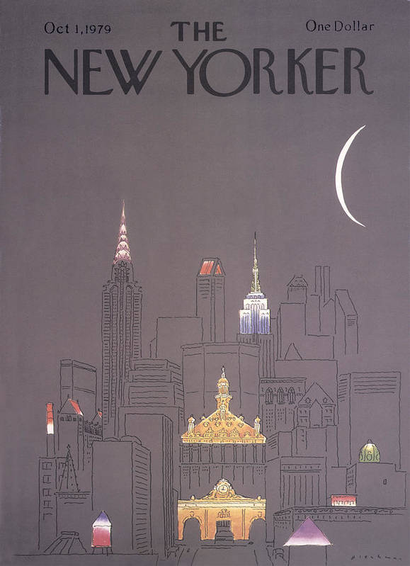 Urban Art Print featuring the drawing New Yorker October 1st, 1979 by RO Blechman
