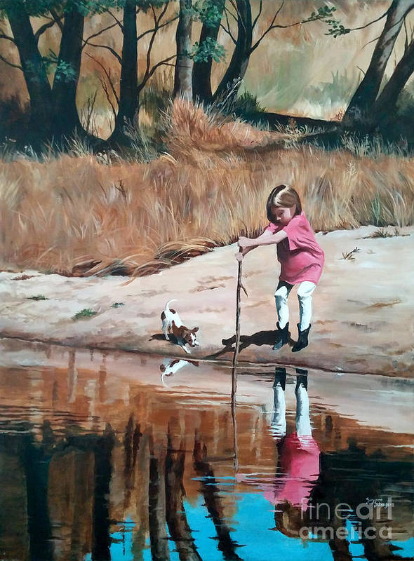Scenes Art Print featuring the painting The Pond by Suzanne Schaefer