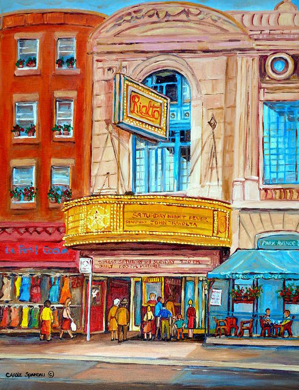 Montreal Art Print featuring the painting The Rialto Theatre Montreal by Carole Spandau