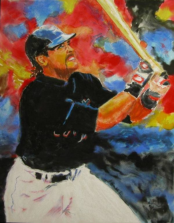 Baseball Art Print featuring the pastel The Slugger by Laura Gabel