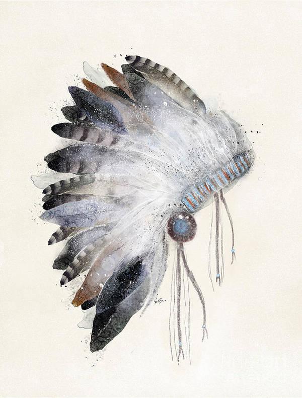 Native Headdress Art Print featuring the painting The Headdress by Bri Buckley