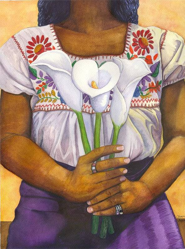 Lily Art Print featuring the painting Three Calla Lilies by Catherine G McElroy