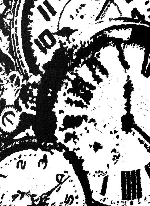 Black Art Print featuring the painting Time -- Hand-pulled Linoleum Cut by Lynn Evenson