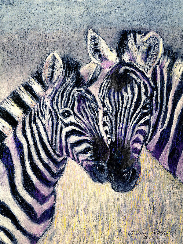 Zebras Art Print featuring the pastel Together by Arline Wagner
