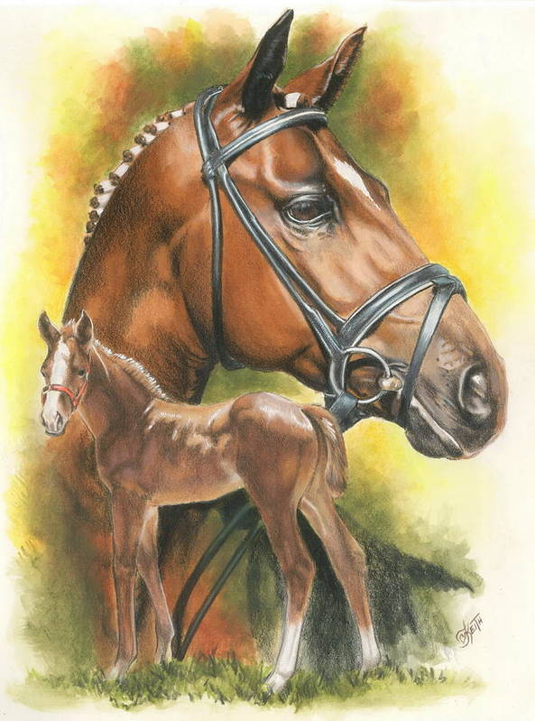 Jumper Hunter Art Print featuring the mixed media Trakehner by Barbara Keith