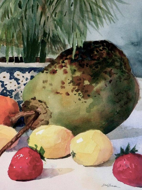 Cocoanut Art Print featuring the painting Tropical Fruit by Faye Ziegler