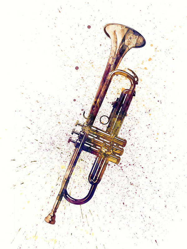 Trumpet Abstract Watercolor by Michael Tompsett