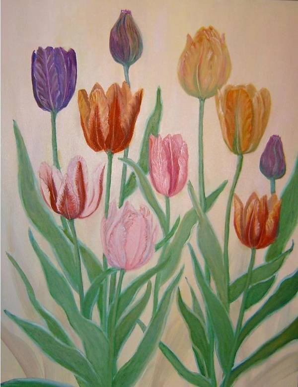 Flowers Of Spring Art Print featuring the painting Tulips by Ben Kiger
