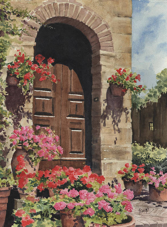 Flowers Art Print featuring the painting Tuscan Door by Sam Sidders