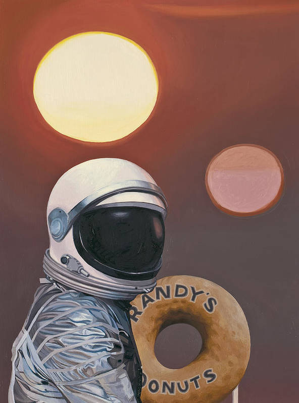 Space Art Print featuring the painting Twin Suns and Donuts by Scott Listfield