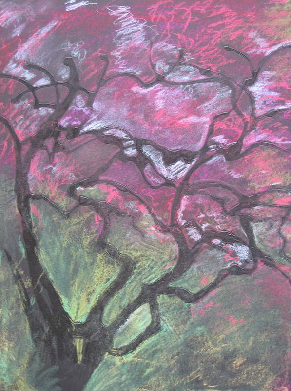 Pastel Art Print featuring the drawing Twisted Cherry by Leah Tomaino