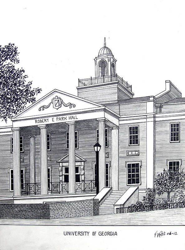University Of Georgia Buildings Drawings Art Print featuring the drawing University of Georgia by Frederic Kohli