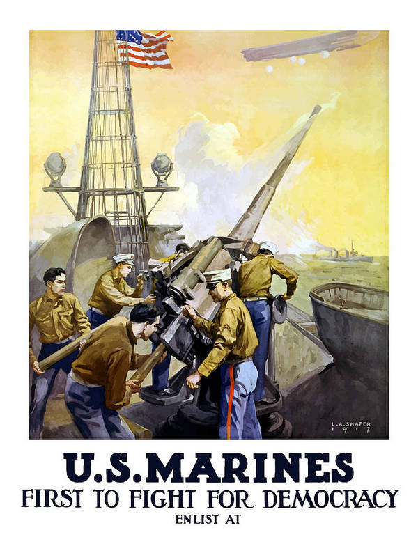 Marines Art Print featuring the painting US Marines -- First To Fight For Democracy by War Is Hell Store