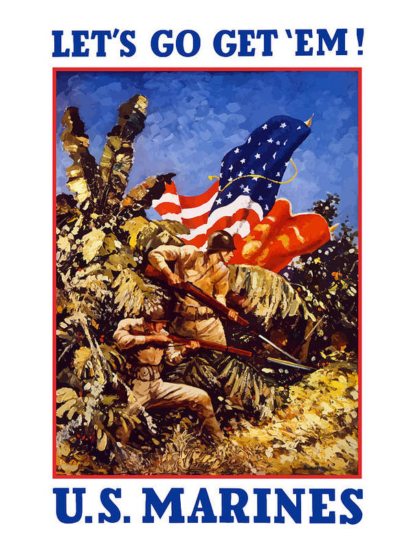 Marines Art Print featuring the painting US Marines - WW2 by War Is Hell Store