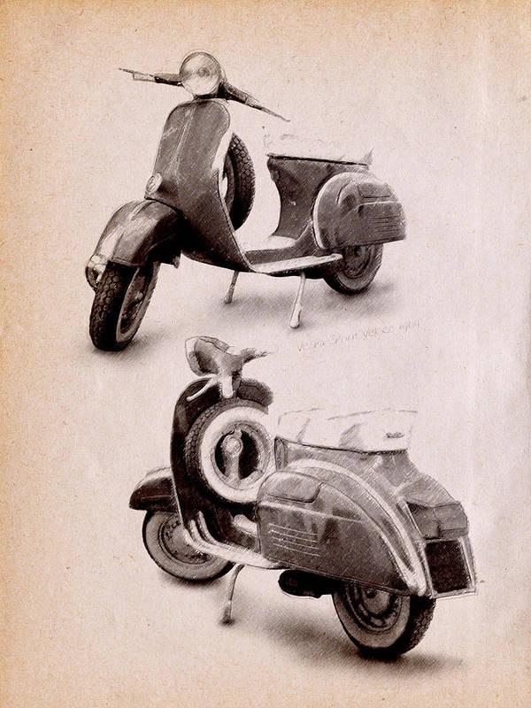 Vespa Scooter Art Print featuring the digital art Vespa Scooter 1969 by Michael Tompsett