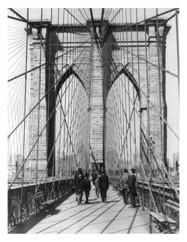 Vintage Art Print featuring the photograph Vintage Photo Brooklyn Bridge by Karla Beatty