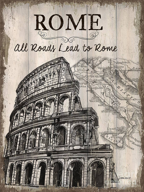 Rome Art Print featuring the painting Vintage Travel Poster by Debbie DeWitt