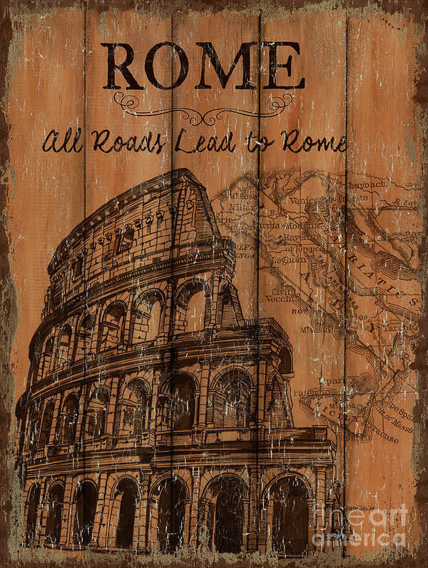 Rome Art Print featuring the painting Vintage Travel Rome by Debbie DeWitt