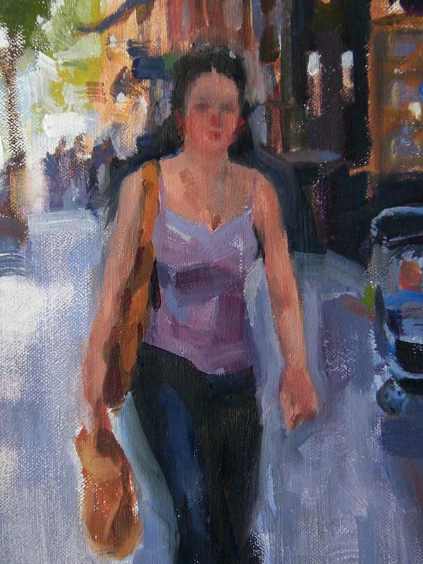 New York Art Print featuring the painting Walking Down Bleeker Street by Merle Keller