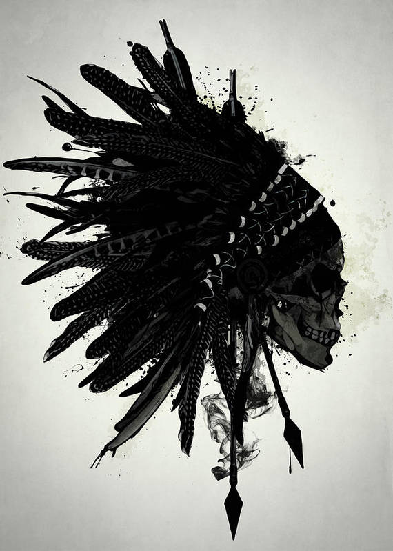 Indian Art Print featuring the digital art Warbonnet Skull by Nicklas Gustafsson